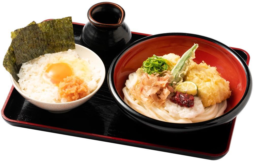 資さんうどん はも天ぶっかけうどん明太子卵かけご飯セット 990円(税込)