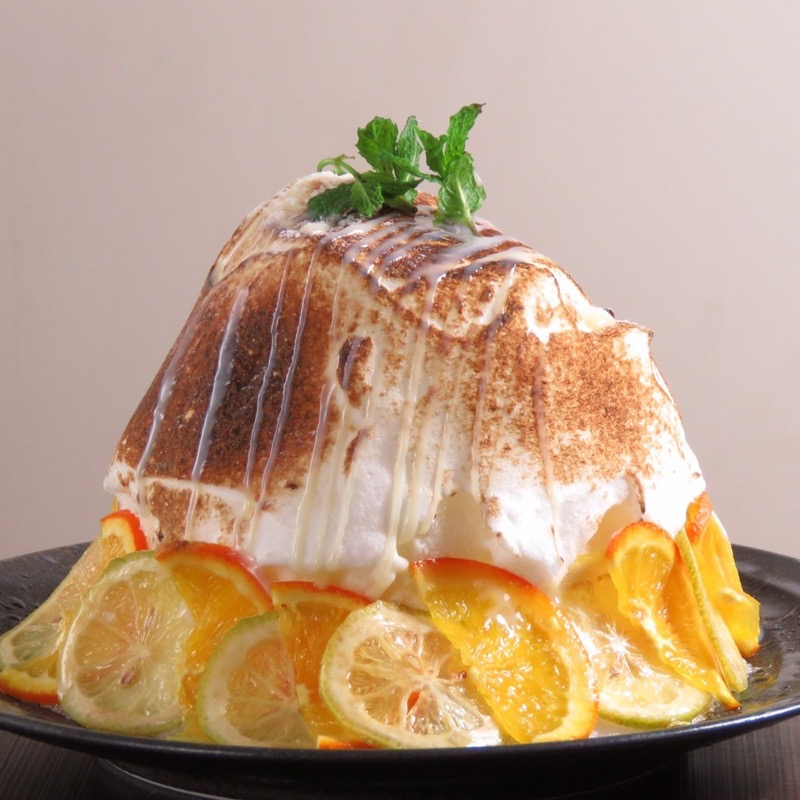 レモンクリームとオレンジの焼きかき氷