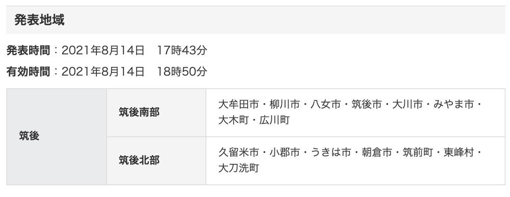 筑後地方 気象情報 福岡県竜巻注意情報【2021年8月14日】