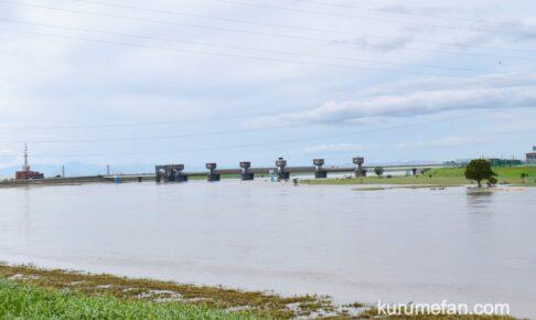 久留米市 筑後川 現在(8月15日)状況 少し水がひいています【豆津橋〜筑後大堰】