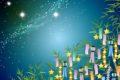 「七夕神社の夏祭り」七夕の里 小郡市 七夕飾りや祭り提灯、夜店が並ぶ